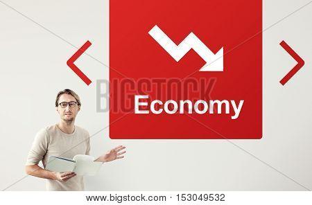 Falling Arrow Financial Icon Word Concept
