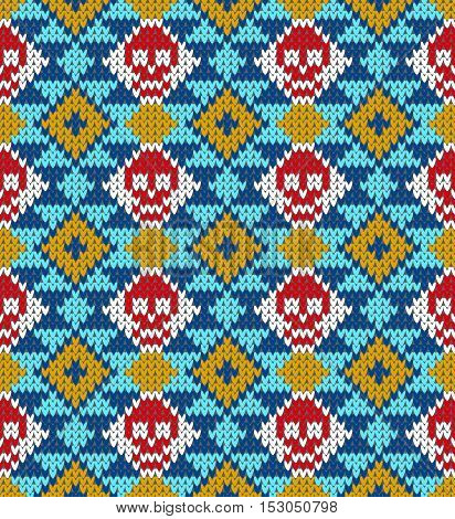 Seamless pattern with skull and ethnic mexican elements. Day of the dead, a traditional holiday in Mexico. For postcard or celebration design. Traditional Latin American patterns and ornaments, colorful patterned skull. Wool knitted texture. Vector Illust