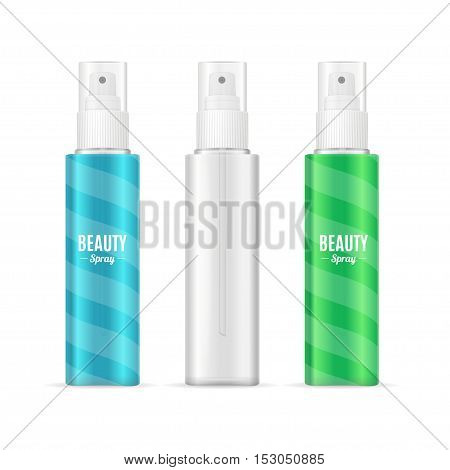 Beauty Spray Can Package Set. Realistic Cosmetic Bottle. Vector illustration