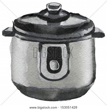 watercolor sketch of multi cooker on white background