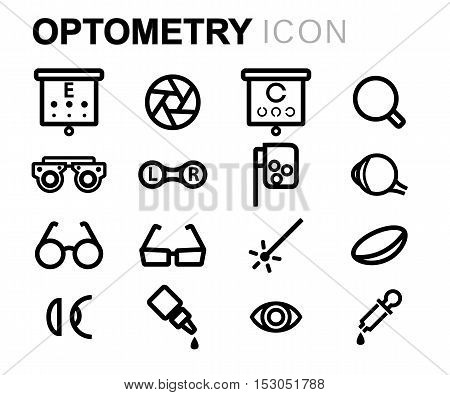 Vector black line optometry icons set on white background