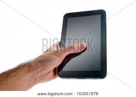 modern high-gloss black electronic tablet in hand