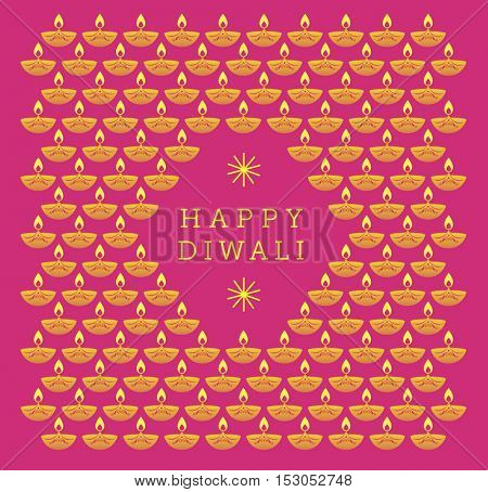 'Happy Diwali' - a hindu festive greeting card design in vector illustration. Graphic Diwali lamps illustration.