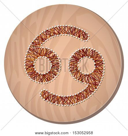 Cancer zodiac sign in circular frame vector Illustration made in the form of filaments. Icon on a wooden background