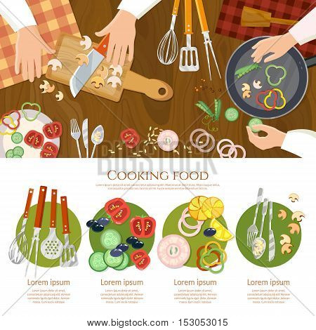 Creative cooking chef cooks preparing food top view cook hands on the kitchen table vector illustration
