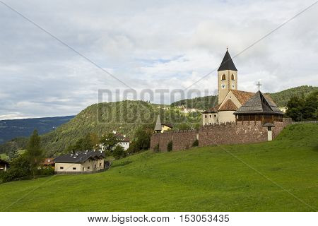 Seis Am Schlern IT- September 18. Panoramic view of Holy Cross Parish of Seis Am Schlern