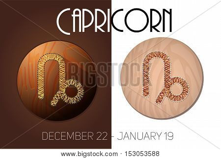 Capricorn zodiac sign in circular frame vector Illustration made in the form of filaments. Icons on a wooden background