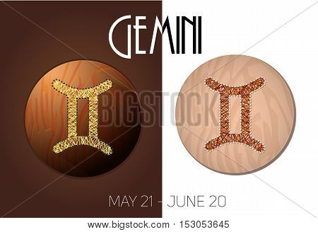 Gemini zodiac sign in circular frame vector Illustration made in the form of filaments. Icons on a wooden background