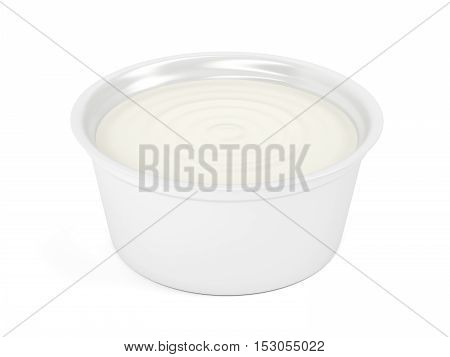 Margarine butter or cream cheese in plastic packaging on white background, 3D illustration