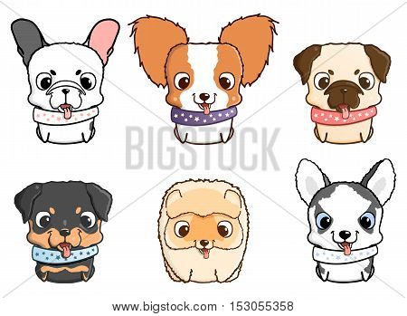 Set of cartoon puppies. Vector illustration isolated on white. Rottweiler, siberian husky, pug, pomeranian, french bulldog, papillon