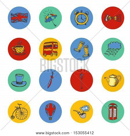 National symbols of England drawn colored icons. Architecture, transport, tradition, clothing, weather, accessories vector illustrations associated with Great Britain. England vector symbols. Travel to England icons. Discover London or England.