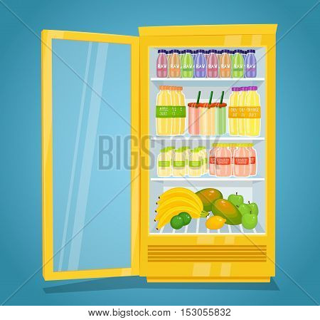Commercial refrigerator full of fruity products. Opened fridge filled with fruits, juices and smoothies in bottles vector illustration. Space organization in fridge. Refrigerator or fridge with drinks. Cartoon vector fridge or refrigerator isolated. Open