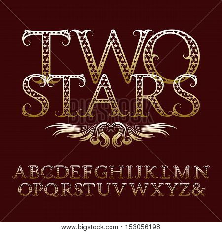 Gold patterned letters with tendrils. Vintage font in rock n roll style. Isolated english alphabet with text Two Stars.