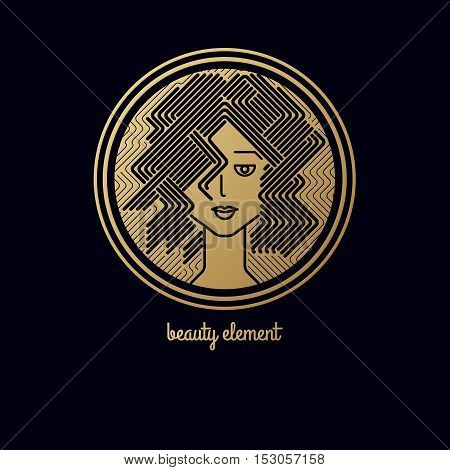 Female head in a circle. Design elements logo of cosmetic products. Face of a pretty girl with stylish hairstyle. Print with gold foil on a black background. Vector illustration. Modern linear style.