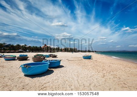 Coracle fishing boats on beach. Mui Ne, Phan Tiet, Vietnam