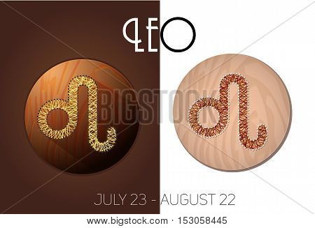 Leo zodiac sign in circular frame vector Illustration made in the form of filaments. Icons on a wooden background