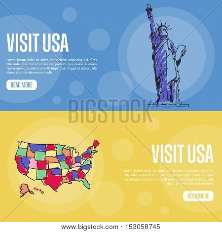 Visit USA banners. Statue of Liberty, United States borders map hand drawn vector illustrations on colored backgrounds. Web templates with country related symbols. For travel company web page design
