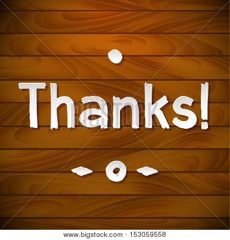 Thank you card on wood background. Gratitude card