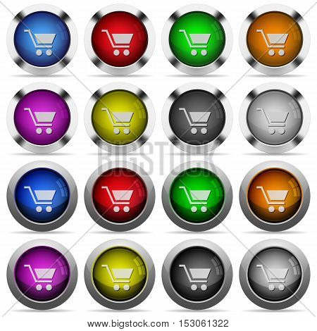 Empty cart color glass buttons in metal frames