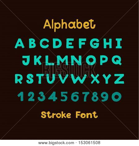 Alphabet. English Sloppy Fat Stroke Font Letters. Capital letters and numbers.