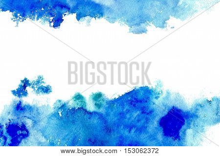 Abstract blue spreading watery frame.Aquatic backdrop.Watercolor hand drawn image.Wet splash.White background. poster