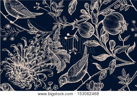 Vintage Japanese chrysanthemum flowers pomegranates branches leaves and birds. Vector seamless pattern. Illustration for fabrics phone case paper gift packaging textiles interior design cover.
