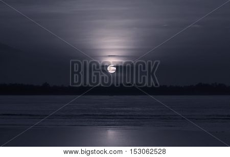 Moon light on horizon;The picture was taken on Gili islan,Indonesia