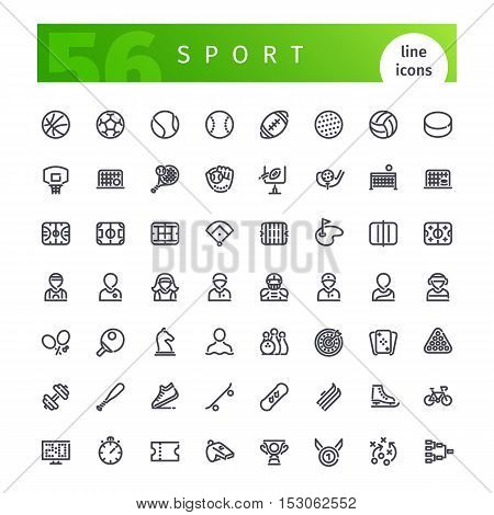 Set of 56 sport line icons suitable for web, infographics and apps. Sports theme icons isolated on white background. Clipping paths included for all icons.