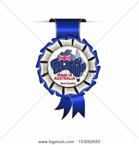 Made in Australia, Best Quality - hanging award blue ribbon with the map and flag of Australia. Suitable for retail industry.