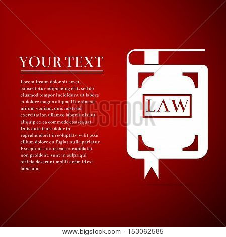 Law book flat icon on red background. Vector Illustration