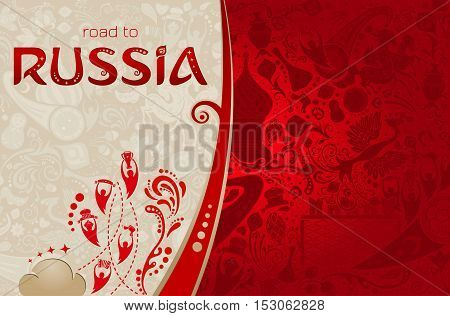 Russian red background world of Russia pattern with modern and traditional elements vector illustration
