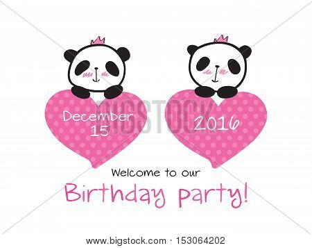 Invitation to the birthday of twins with little cute pandas and hearts. Hand drawn panda for your design. Vector.