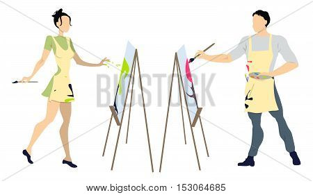 Two artists painting on white background. Isolated female and male artists in aprons painting pictures on easel. People in paint spots.