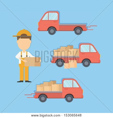 Delivery truck set with courier and boxes. Cargo service.