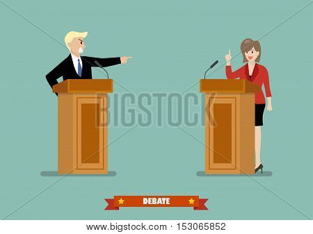 Two Businessman situation. Presidential debate vector illustration