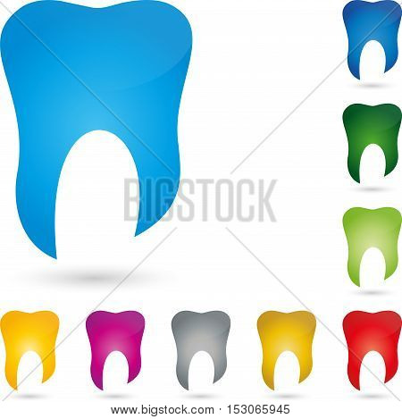 Tooth in blue, tooth, colored, tooth and dentist logo