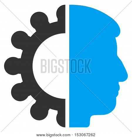 Android Head glyph pictograph. Style is flat graphic bicolor symbol, blue and gray colors, white background.