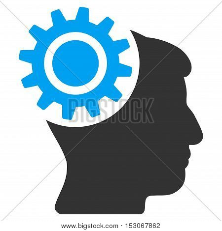 Brain Gear glyph icon. Style is flat graphic bicolor symbol, blue and gray colors, white background.