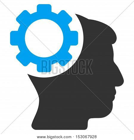 Brain Gear glyph pictograph. Style is flat graphic bicolor symbol, blue and gray colors, white background.