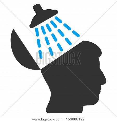 Brain Washing glyph icon. Style is flat graphic bicolor symbol, blue and gray colors, white background.