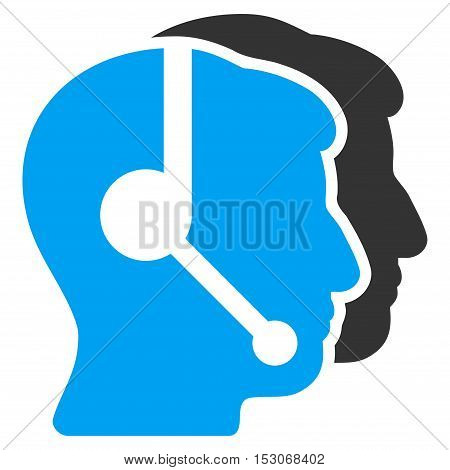 Call Center Operators glyph pictograph. Style is flat graphic bicolor symbol, blue and gray colors, white background.