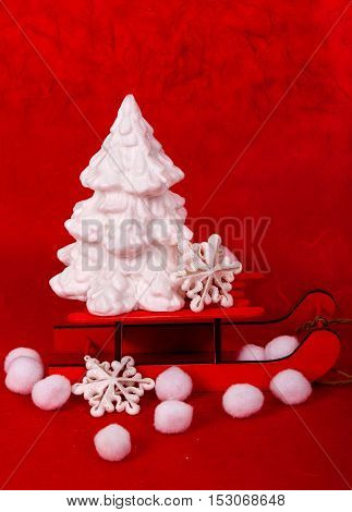 Christmas background with Christmas tree .  decoration