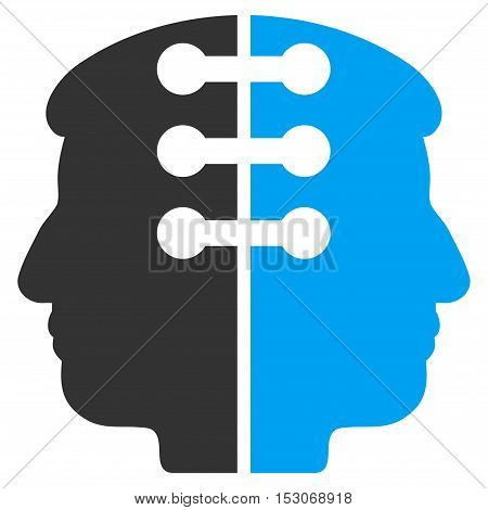 Dual Head Interface glyph icon. Style is flat graphic bicolor symbol, blue and gray colors, white background.