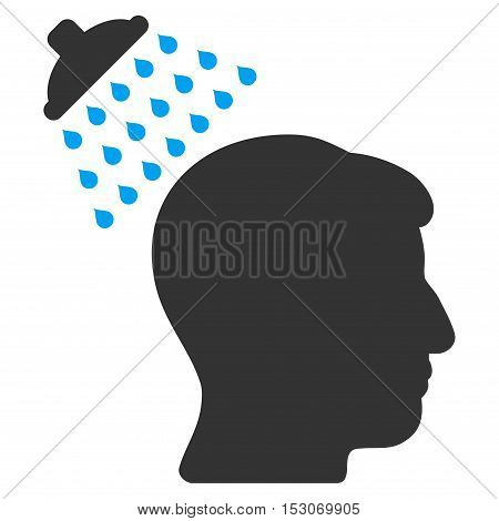 Head Shower glyph pictograph. Style is flat graphic bicolor symbol, blue and gray colors, white background.