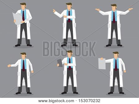 Set of six vector illustrations of cartoon man in long white coat or lab coat as doctor scientist or laboratory researcher isolated on grey background.