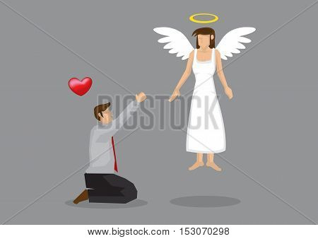 Cartoon man on his knees begging for love from his goddess with wings and halo. Creative vector illustration on love concept isolated on grey background.