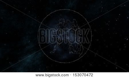 Aquarius zodiac sign of the beautiful bright stars on the background of cosmic sky. Stars and symbol outline on a dark sky background. Zodiac signs. Horoscope. Astrology sign.