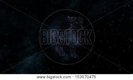 Aries zodiac sign of the beautiful bright stars on the background of cosmic sky. Stars and symbol outline on a dark sky background. Zodiac signs. Horoscope. Astrology sign.