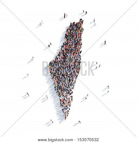 Large and creative group of people gathered together in the form of a map Palestine, a map of the world. 3D illustration, isolated against a white background. 3D-rendering.