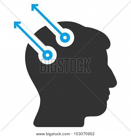 Neural Interface Plugs glyph pictograph. Style is flat graphic bicolor symbol, blue and gray colors, white background.